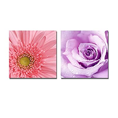 Canvas Prints Wall Art - Purple Wet Rose and Gerbera Flower | Modern Wall Decor/Home Decoration Stretched Gallery Canvas Wrap Giclee Print & Ready to Hang - 24