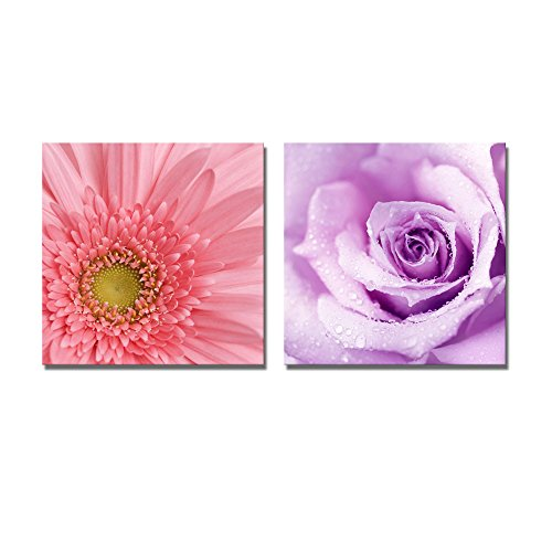 Purple Wet Rose and Gerbera Flower Wall Decor ation x 2 Panels