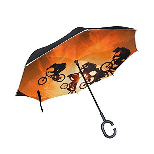 RH Studio Inverted Umbrella Cyclists Sun Sky Sunset Large Double Layer Outdoor Rain Sun Car Reversible Umbrella