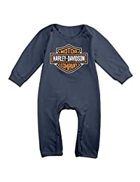 MJML5 Baby Harley Davidson Logo Romper Jumpsuit Navy