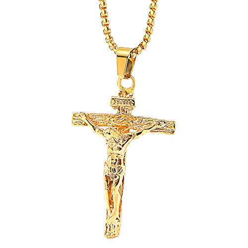 Onepine Stainless Steel Necklace Jesus Christ Crucifix Men's Necklace Antique Cross Religious Pendant Necklace, 24