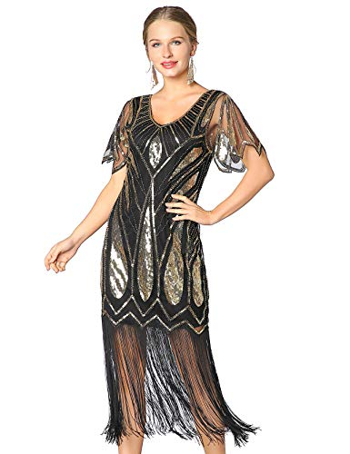 Metme Women's Sequins Beaded Art Deco Lace Dresses for 20s Cooktail Party Fringed Dress