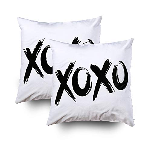 GROOTEY Decorative Cotton Square Set of 2 Pillow Case Covers Zippered Closing Home Sofa Decor Size 16X16Inch Costom Pillowcse Throw Cover Cushion,black brush lettering on a white background by GROOTEY