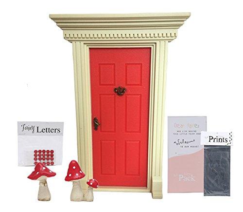 'lil Fairy Door Red Bundle (4 items) - 'lil Fairy Door (Red), 'lil Mushrooms (red), 'lil Fairy Letters, and 'lil Fairy Foot Print Stencil. (Door Pixie)