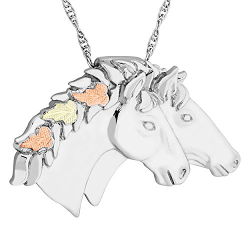 Double Horse Head Pendant Necklace, Sterling Silver, 12k Green and Rose Gold Black Hills Gold Motif, 20