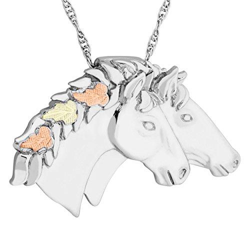 Double Horse Head Pendant - Black Hills Gold on Silver Double Horse Head Pendant