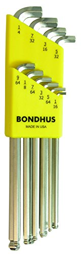 Bondhus 16738 10 Piece Stubby Ball End Tip Hex Key L-Wrench Set with BriteGuard Finish, Long Arm