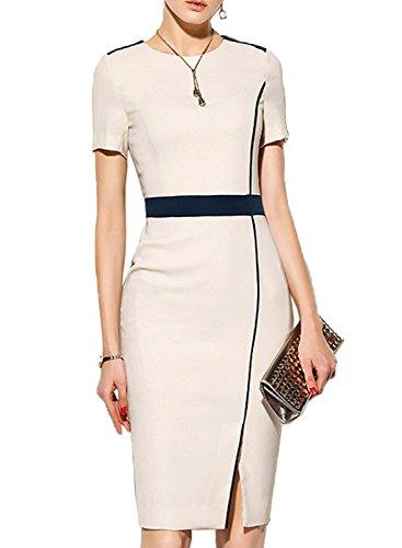 WOOSUNZE Women's Short Sleeve Colorblock Slim Bodycon Business Pencil Dress (Small, Apricot)