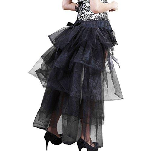 Sottogonna Lunga Gotico Anni Vintage Elegante Forest Steampunk Ballo Nero Irregolare Gonna Donna Tulle Asimmetrico Partito Pine Tutu 50 Petticoat Ballerine ITYUZw