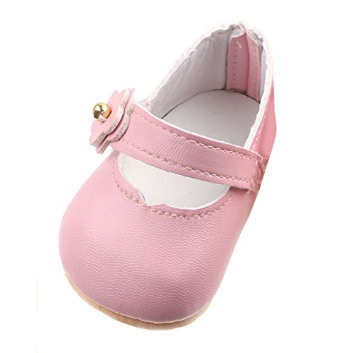 MagiDeal Pink Classic Shoes Sticky Strap Flats Boots for 17inch Zapf Baby Born Dolls
