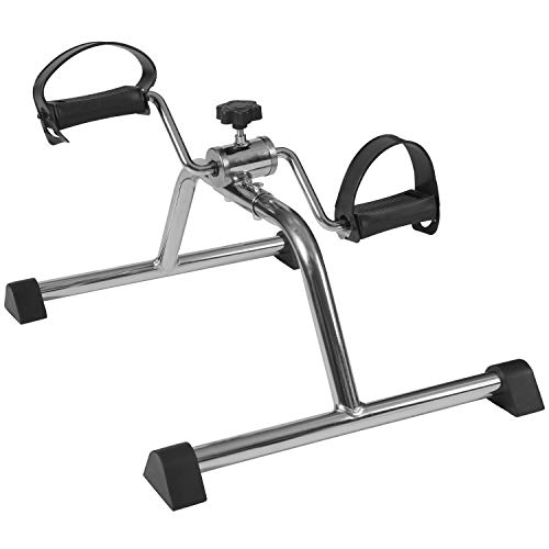 DMI Lightweight Mini Pedal Exerciser Leg and Arm Peddler, Adjustable Tension, Silver