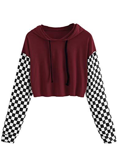 Women's Pineapple Crop Top Teen Girls Plaid Cropped Hoodie Sweater Jacket Sweatshirt Jumper Pullover Tops (P-Red, ()