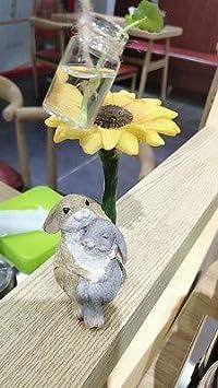 HomDSim Mini Conejo Conejos al Aire Libre jardín Estatua Maceta ...