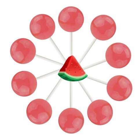 10ct. Watermelon Lollipop Bag (Watermelon) -