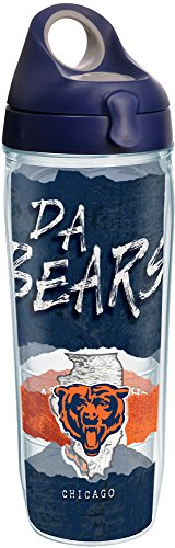 (Tervis 1251827 NFL Chicago Bears NFL Statement Tumbler with Wrap and Navy with Gray Lid 24oz Water Bottle, Clear )