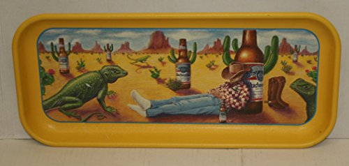 Budweiser Beer Serving Tray Metal Sign South West Desert Design Cowboy Bud Bottle Cactus Iguana 1996 Distributor Promo