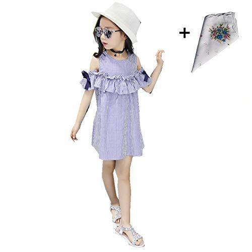 FTSUCQ Girls Off Shoulder Striped Print Dress (130(7-8Y), Blue) by Dillian Dress (Image #1)