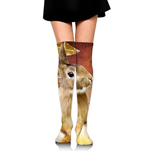 Easter Rabbit Clipart (Rabbit In The Flower Over The Knee Long Socks Tube Thigh-High Sock Stockings For Girls & Womens)