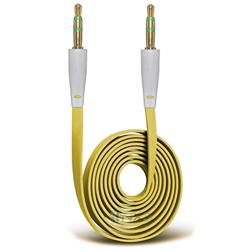 ONX3 (Yellow) HTC Desire 625 Gold Plated 3.5mm Jack To Jack Connection Aux Auxiliary Audio Flat Cable (625 Silver Metal)