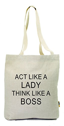 "Rikki Knight UKBK-LINENTOTE-3387 ""Act like a lady think like a BOSS"" Cotton Linen Tote Gym Shopping Bag, Natural"