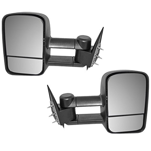 Driver and Passenger Manual Telescopic Tow Mirrors Performance Upgrade Replacement Chevy Cadillac GMC Pickup Truck GM1320416 GM1321416