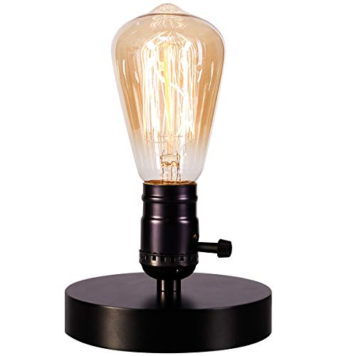 Vintage Table Lamp Base Licperron E26 E27 Industrial Vintage Desk Lamp with plug in cord On/Off Switch Bedside Lamp Holder for Home Lighting ()