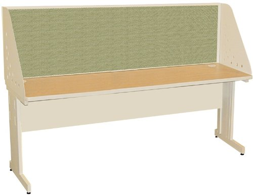 Pronto Pronto School Training Table with Carrel and Modesty Panel Back, 72W x 30D - Putty Finish and Peridot Fabric - Back Study Carrel