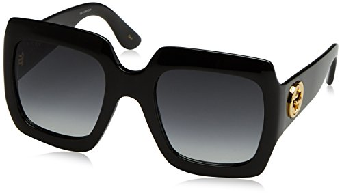Gucci GG0053S 001 Shiny Black GG0053S Butterfly Sunglasses Lens Category 3 Size,54-25-140