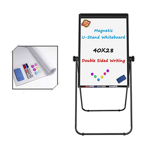 Stand White Board - 40x28 Magnetic Dry Erase Board w/FlipChart Pad Double Sided Whiteboard Easel, Height Adjustable 360 Degree Rotating White Board Easel,Black