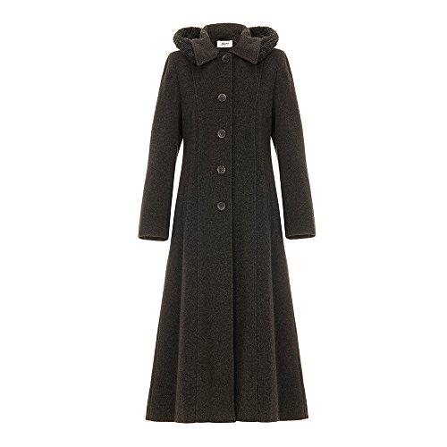 De La Creme Single Breasted Detachable Fur Hood Wool Winter Trench Winter Coat, Dark Grey, Size - Trim Fur Cashmere Coat