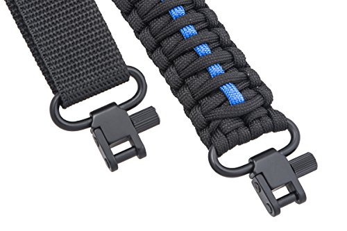 Rifle Sling 550 Paracord - 2 Point - Survival Hunting Shooting - Extra Strong Multi Use (Thin Blue Line)