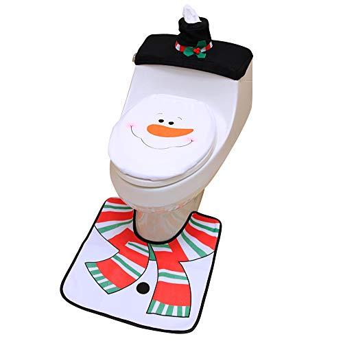 OLABB Christmas Decorations Toilet Seat Cover and Rug Set Snowman Ornaments Santa Bathroom Decor 3 Piece