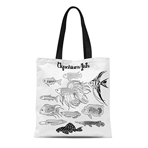 Semtomn Cotton Canvas Tote Bag Aquarium Fishes Drawn in Line Under Water Scenery the Reusable Shoulder Grocery Shopping Bags Handbag Printed]()
