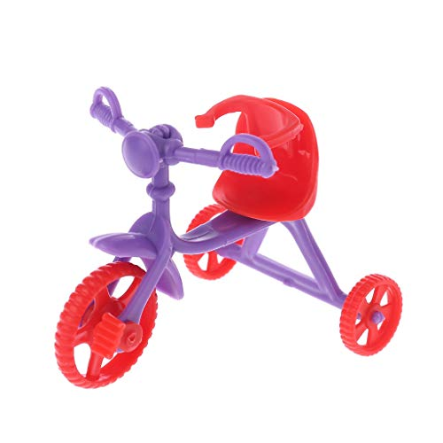 (Tebatu Mini Doll Tricycle with Push Handle Dollhouse Accessories Play Home Game Toy for Kids Children)