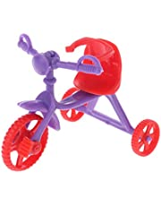 HOHOHANARO Doll Tricycle with Push Handle Kids Miniature Mini Toys Children Gifts Dollhouse Accessories Plastic Play Home Game Toy