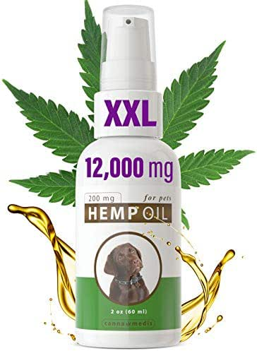 XXL size Canna Medis Hemp Oil for Dogs with Cancer, Anxiety, Arthritis, Pain, Seizures, Inflammation. 2 oz, Concentrated Cannabis Extract, 200 mg Per Dose, For Up To 2 Months, 100% Pure, Fast Results.