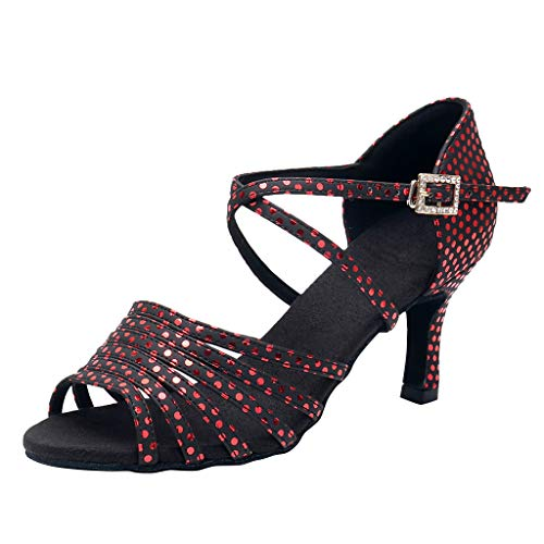 Tantisy ♣↭♣ Women's Ballroom Tango Salsa Latin Dance Shoes Sandals Princess Shoes/Ladies High Heels 7cm/2.8'' Red