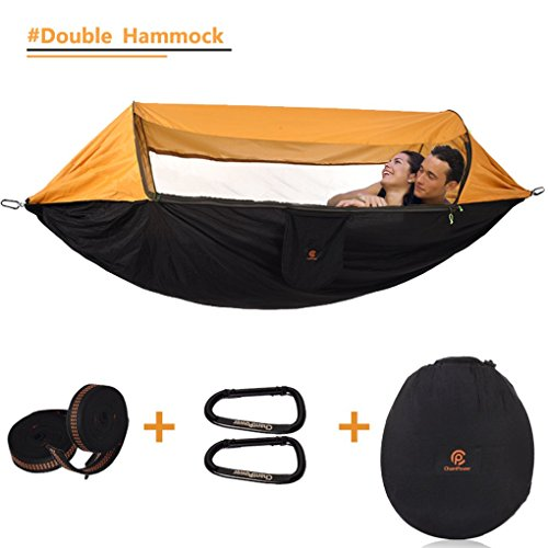 CHANTPOWER 3 in 1 Hammock with Mosquito Net and Sunscreen Cover, Outdoor Windproof, Anti-Mosquito, Sunscreen Shelter for Hiking Backpacking Backyard (Orange) -(L x W) 114''x 57'' by CHANTPOWER