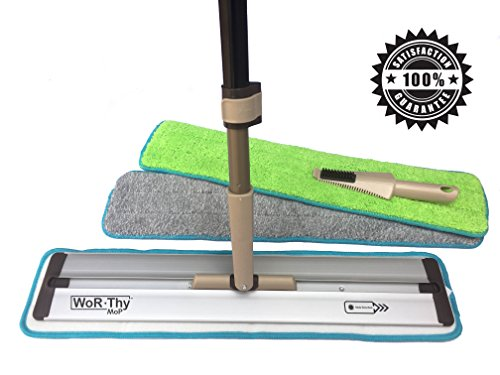 WoR-Thy MoP | 20' PROFESSIONAL MICROFIBER DUST AND HAIR MOP | BEST FOR HARDWOOD LAMINATE TILE AND STONE FLOORS | USE WET OR DRY | 2 PREMIUM REUSABLE PADS | EXTRA LONG HANDLE | EASY TO USE