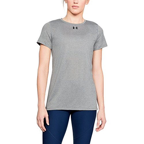 - Under Armour Women's Locker T-Shirt, True Gray Heather (025)/Black, Large