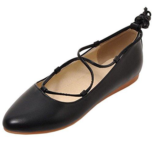 COOLCEPT Mujer Moda Tacon De Vaquero Encaje Planos Vestir Bombas Zapatos Negro