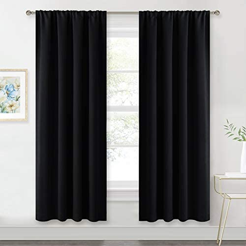 RYB HOME Bedroom Window Treatments Blackout Curtains 42 Wide x 72 Long, Black, 2 Pieces Blackout Rod Pockets Drapes Panels Windows Shades Energy Efficient Privacy Protect for Living Room