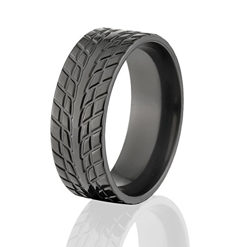 Black Zirconium Tire Ring Wedding Band Mud Tread Rings USA Made Top Quality Product