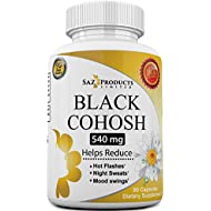Whole Root Black Cohosh Menopause Complex - Relieves Hot Flashes Night Sweats Mood Swings Sleeplessness – 100% Pure Natural Herbal Supplement for Hormone Balance – 540mg Estrogen Free – 90 Days Supply