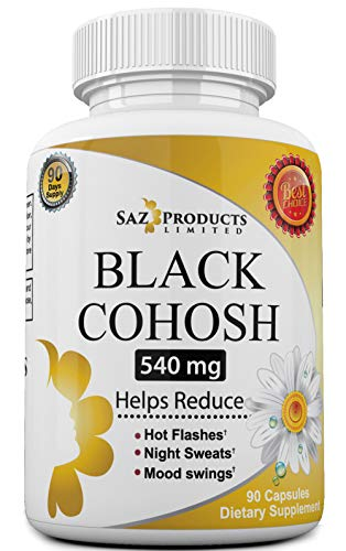 Whole Root Black Cohosh Menopause Complex – Relieves Hot Flashes Night Sweats Mood Swings Sleeplessness – 100% Pure Natural Herbal Supplement for Hormone Balance – 540mg Estrogen Free – 90 Days Supply