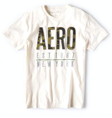 Aeropostale Mens Crew Neck Front Logo T Shirt (New York 1987/Floral White, Medium) from Aeropostale