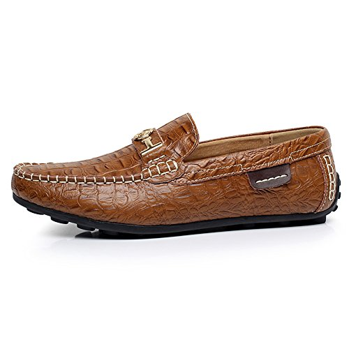 Croco Flats US9 Driving Warm Leather Stylish Lining Brown Water rismart High Loafer Resistant Shoes End Mens 1314 Stamping qT86pwXx