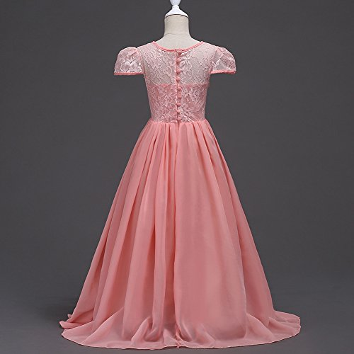 Amazon.com: IBTOM CASTLE Flower Girls Junior Bridesmaid Long Chiffon Lace Wedding Dress Ceremony Dance Maxi Gown 7-16 Coral Orange 6-7T: Clothing