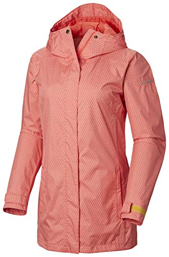 Columbia Women's Splash A Little II Jacket, Waterproof & Breathable , Red Coral Mini Hex Print , X-Large