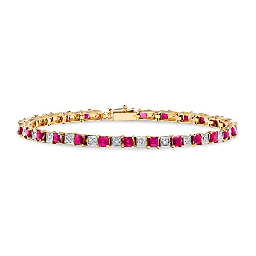 (10k Yellow Gold Square Red Ruby And Diamond Tennis Bracelet)
